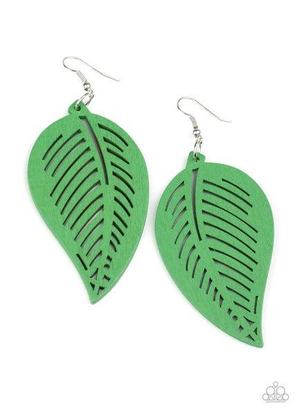 Tropical Foliage Green Earrings
