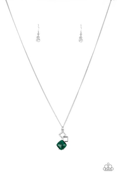 Stylishly Square Green Necklace
