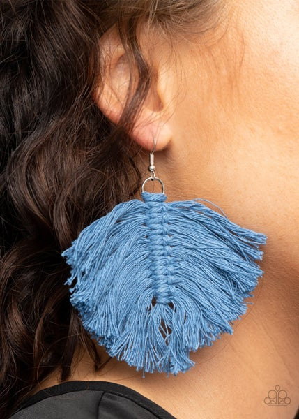 Macrame Mamba Blue Earrings