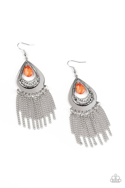 Scattered Storms Orange Earrings