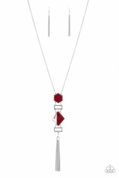 Stripe Up a Conversation Red Necklace