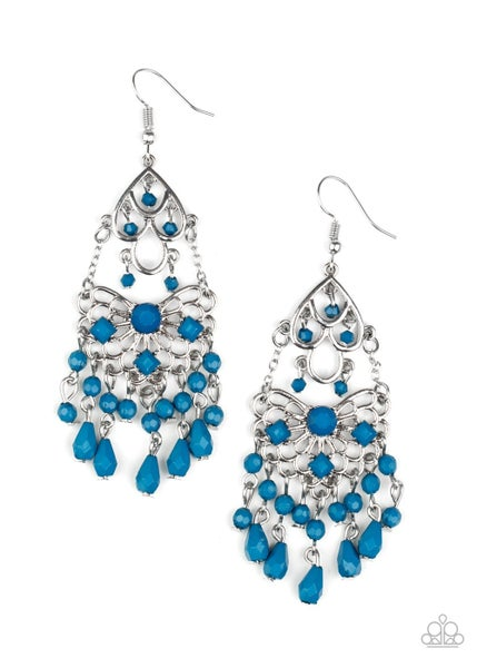 Glass Slipper Glamour Blue Earrings