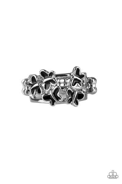 Fluttering Fashion Black Ring