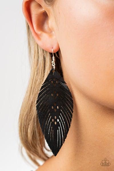 Wherever The Wind Takes Me Black Earrings