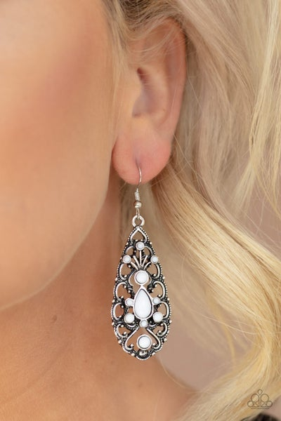 Fantastically Fanciful White Earrings