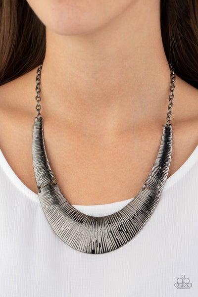 Feast or Famine Gunmetal Necklace