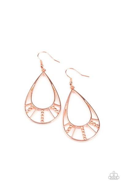 Line Crossing Sparkle Copper Earrings