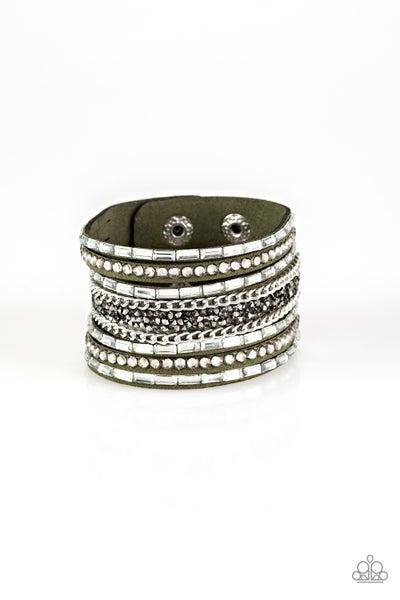 Rhinestone Rumble Green Bracelet