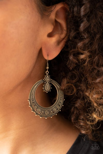 Solar Orbit Brass Earrings
