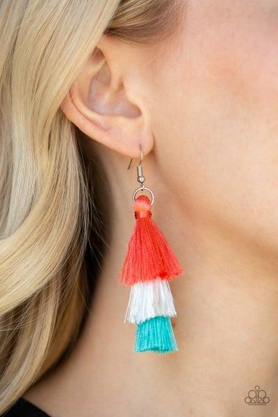 Hold On To Your Tassel Orange Earrings