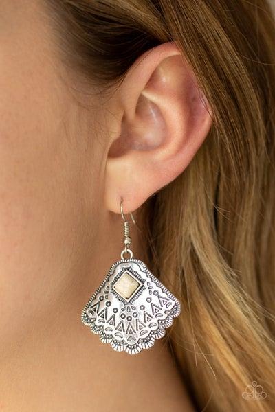 Mountain Mesa White Earrings