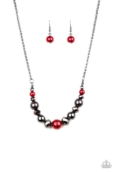 The Big-Leaguer Red Gunmetal Necklace
