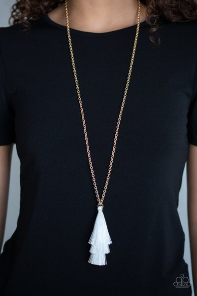 Triple The Tassel White Gold Necklace