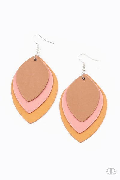 Light As A LEATHER Pink Earrings