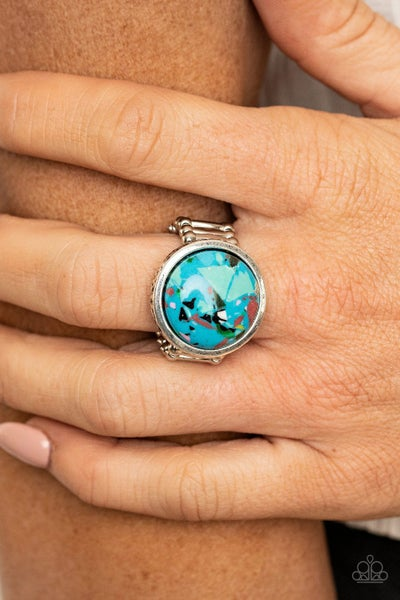 Marble Mosaic Blue Ring