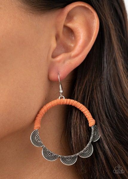 Tambourine Trend Orange Earrings