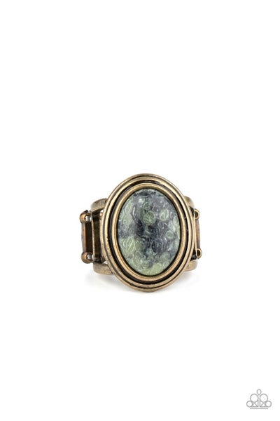 Cliff Dweller Demure Green Brass Ring