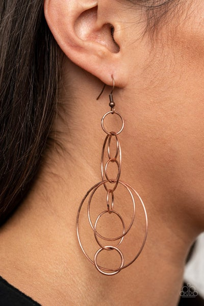 Running Circles Around You Copper Earrings