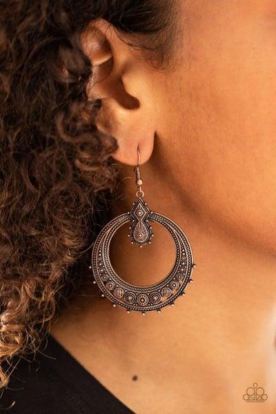 Solar Orbit Copper Earrings