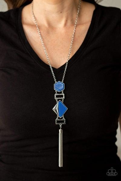 Stripe Up a Conversation Blue Necklace