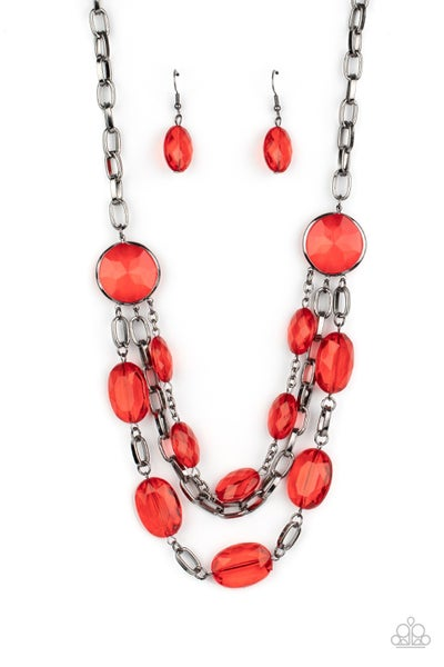 I Need A GLOW-cation Red Gunmetal Necklace