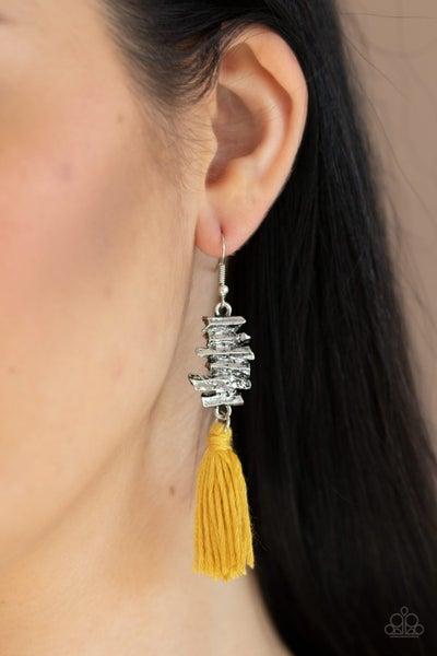 Tiki Tassel Yellow Earrings