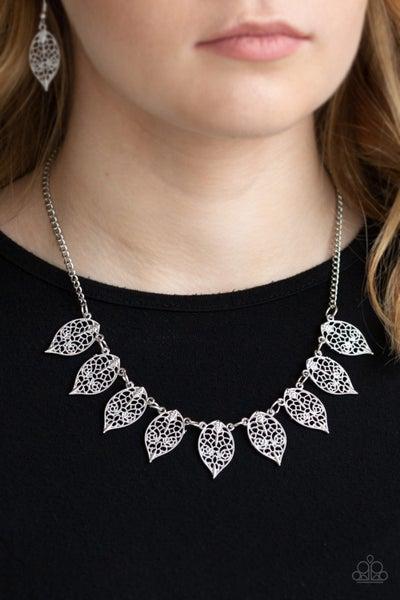 Leafy Lagoon Silver Necklace