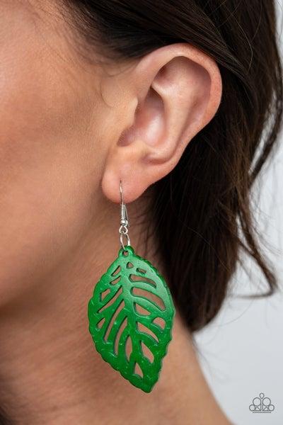 Leaf 'Em Hanging Green Earrings