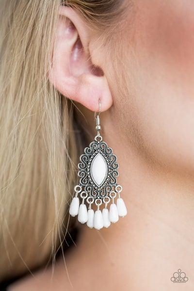 Private Villa White Earrings