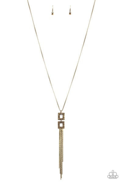Times Square Stunner Brass Necklace