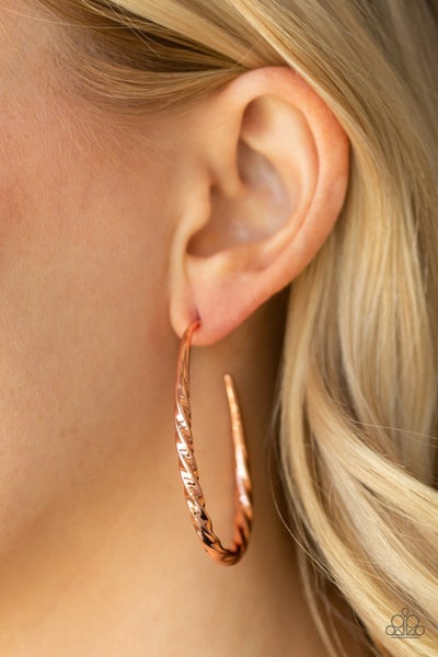 Twisted Edge Copper Hoops