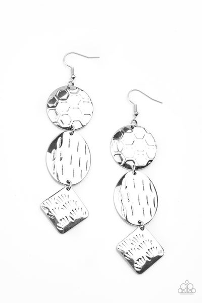 Mixed Movement Silver Earrings