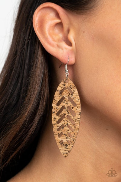 You're Such A CORK Brown Earrings