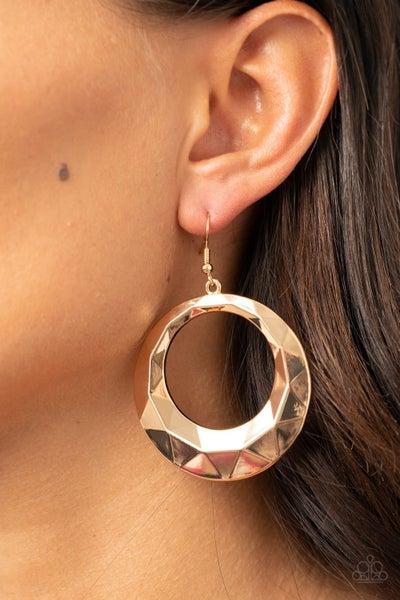 Fiercely Faceted Gold Earrings