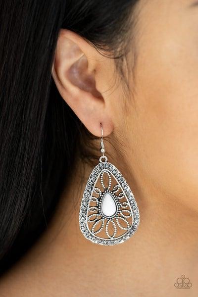 Floral Frill White Earrings