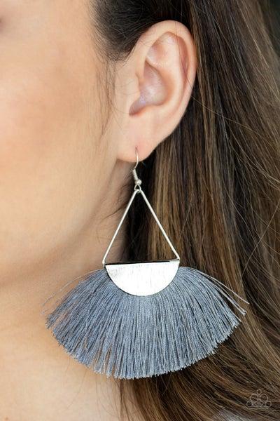 Modern Mayan Silver Earrings
