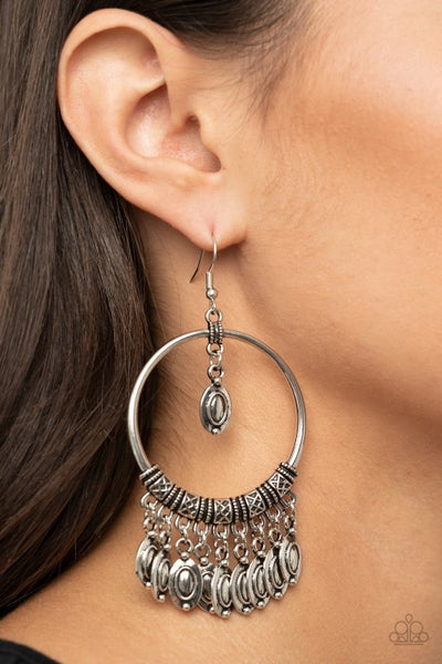 Metallic Harmony Silver Earrings