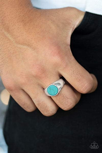 Carbon Print Turquoise Mens Ring