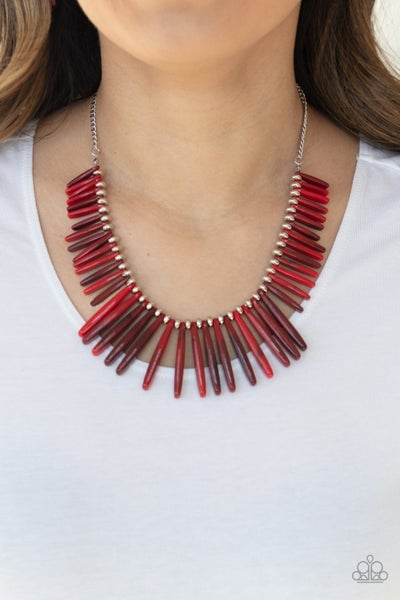 Out Of My Element Red Necklace