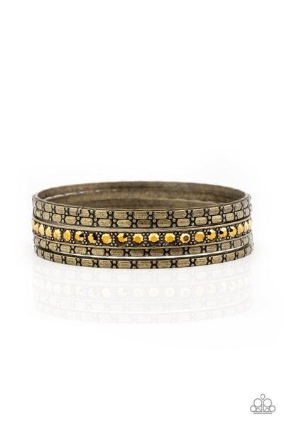 Glitzy Grunge Brass Bracelet