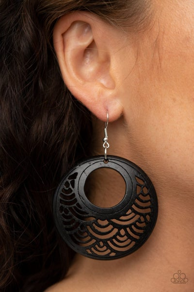 Tropical Canopy Black Earrings