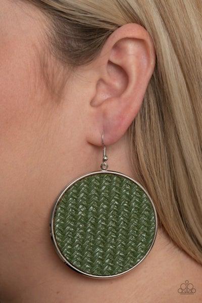 Wonderfully Woven Green Earrings