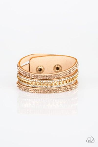Rollin' In Rhinestones Gold Bracelet