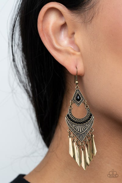 Trailblazer Beam Black Brass Earrings