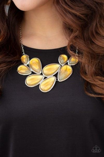Iridescently Irresistible Yellow Necklace