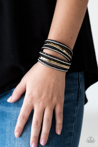 Rock Star Attitude Black Gold Bracelet