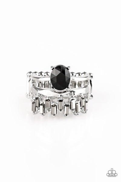 Crowned Victor Black Ring