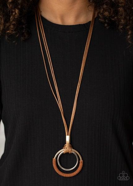 Elliptical Essence Brown Necklace