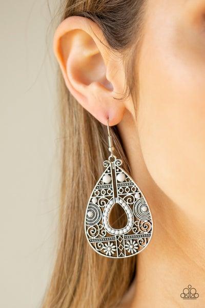 Malibu Gardens White Earrings
