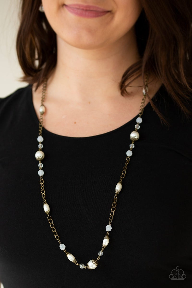 Magnificently Milan Pearl Brass Necklace